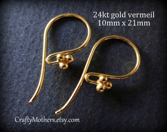 TAKE10 for 10% off! TWO Pairs Bali 24kt Gold Vermeil 4 Ball Ear Wires (4 pcs), 21mm x 10mm, Artisan-made supplies, precious metals