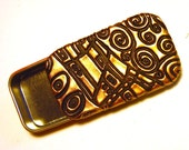 Klimt Art Pill Box Black and Gold Slide Top Tin Unique Purse Accessory Elegant  Unisex Gift FREE Grey Velvet Gift Pouch Included