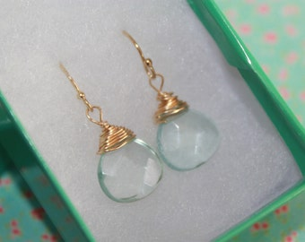 Aquamarine blue glass, faceted, heart briolette earrings on 14k gold French earwire, perfect for everyday or bridal party!