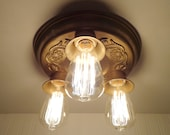 Antique CEILING LIGHT of Aged Brass shown with Edison Filament Bulbs