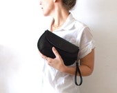 ON SALE Black leather purse - woman wallet - Evening purse