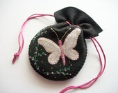 Jewelry Pouch Black Felt Gift Bag with White Embroidered Butterfly and Bead Embroidery Handsewn