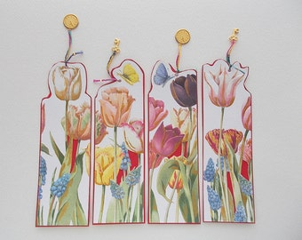 Bookmarks Heavely Embossed Tulips and Insects with Brass Clock Charms and Gold Plated Keys 4 pcs