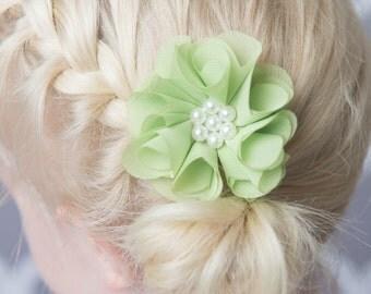 Lime hair clip, flower hair clip, green wedding flower girl, birthday gift, girl hair accessory, toddler hair clip, baby hair clip,