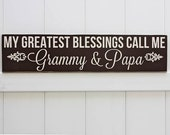 My Greatest Blessings Call Me Grammy & Papa // Hand-Painted // Wall Art // Customizeable // Grandparent Sign // Aunt Sign // Mother