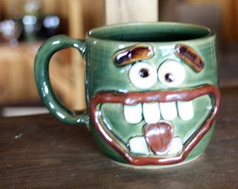 Beer Mug 20 Oz Huge Pottery Coffee Cup Man Husband Gift for Him Large Ceramic Stein. Snarly Not a Morning Person Face Mug. Frosty Green.