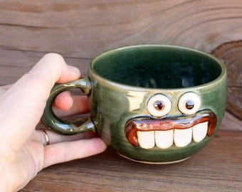 Pottery Soup Mug. Ironic Funny Face Mugs. Chicken Noodle Soup Chili Bowl with Handle. Forest Green. Handmade Stoneware Pottery.