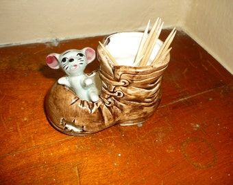 Vintage Mouse in Boot Toothpick Holder