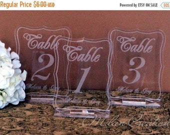 ON SALE Acrylic Engraved Wedding Reception Table Numbers 1-99