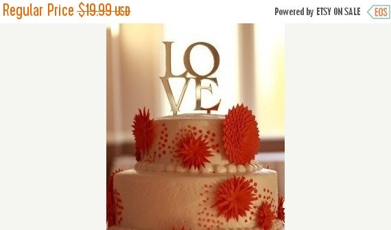 ON SALE Wedding Cake Toppers Love Design in Silver Black or Gold Mirror
