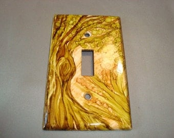 TREE - Hand Painted Light Switch Plate, Single Switch