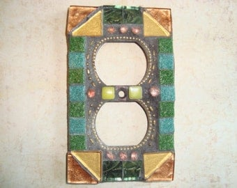 MOSAIC Electrical Outlet COVER , Wall Plate, Wall Art, Gold, Green, Tealy