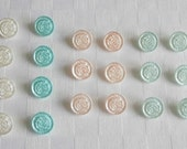 20 really nice elegant glass buttons with fine made surfaces - diff. colors - 13.5 mm - 9/16 in.)