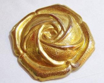 vintage gold tone rose scarf clip