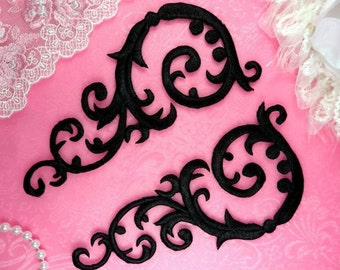 "Embroidered Appliques Black Mirror Pair Designer Scroll Iron On Motifs 6.75"" (GB401X-bk)"