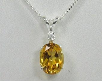 Citrine 9x7mm 1.55ct Sterling Silver Gemstone Necklace