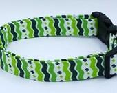 St. Patrick's Day Shamrock Green and White Ric Rac Stripe Irish Dog Collar