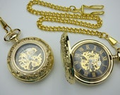 Gold and Black Mechanical Pocket Watch with Watch Chain - Groomsmen Gift - Magnifying Crystal Cover - Engravable View Window - Item MPW493
