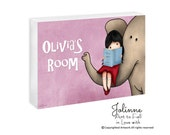 Personalized children door sign, custom kids art, Girl reading elephant door sign,pink door plaque for kids room,elephant room decor,artwork