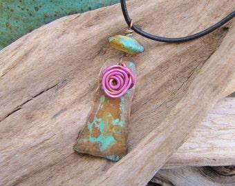 Bohemian Wild Rose Copper Pendant Lampwork Bead