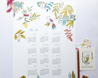 2016 2017 Printable Calendar - digital calendar - download calendar poster size A3 - birds illustration art print calendar