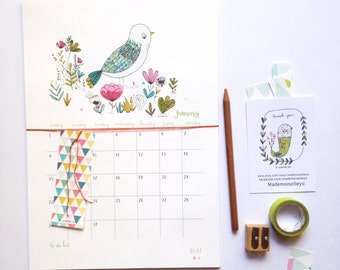 2017 Calendar - 2017 wall calendar - 2017 calendar with a planner - to do list - birds and flowers illustration