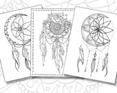 Dream Catcher Pack - Adult Coloring Pages - Instant Download PDF - Print your own coloring book