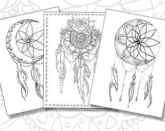 dream catcher pack adult coloring pages instant download pdf print your own coloring - Tattoo Coloring Book Pdf