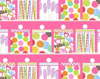 Lolly Candy Sweets Shoppe Confectionery by Blend Fabric Pixie Stix Gum Balls on Pink