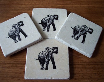 Elephant Tumbled Marble Field Tile Beverage Coasters Set of four Hand stamped