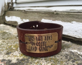 Recycled leather cuff - handstamped cuff bracelet - gift for her