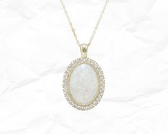 Faux Opal Necklace - rhinestone - pendant - gold - 14k - sparkly