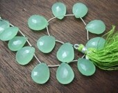 1 pair (2 beads) - HUGE Mint Green Chalcedony Faceted Giant Briolettes - 13x18mm (No. 1563)
