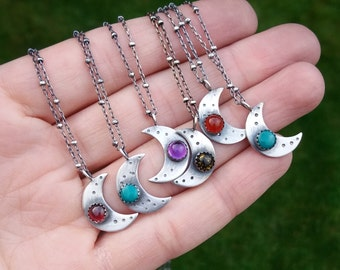 mini crescent moon necklace - sterling silver moon necklace - garnet moon necklace - garnet necklace - gemstone moon necklace