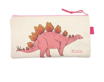 Dinosaur Pencil Case, Personalised Gift for Kids, Pink Dinosaur Pencil Bag, Back to School Custom Gift