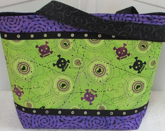 Neon Green and Purple Cyber  Skulls  Large Tote Bag Dots and Bobble Skulls Purse Alternative Fashion Shoulder Bag Ready To Ship