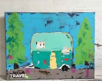 Camper art, airstream trailer, travel, original art, mixed media, 12 x 16 canvas