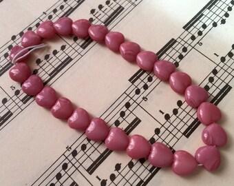 Vintage  heart beads Czech glsss medium Pink  so sweet  yummy
