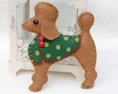 Poodle Christmas ornament, Apricot Poodle, Red Poodle,Felt dog ornament,Dog Christmas Ornament,Handmade felt poodle,Pepe,Christmas in July