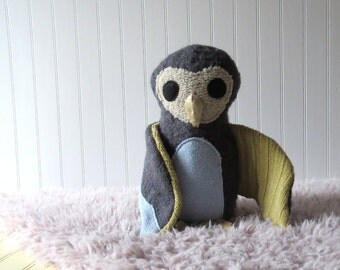 "Grey Owl, Plush Owl, Toy Owl, Owl Doll. 12"" Tall"