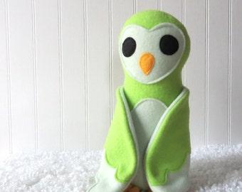 Green Owl, Plush Owl, Toy Owl
