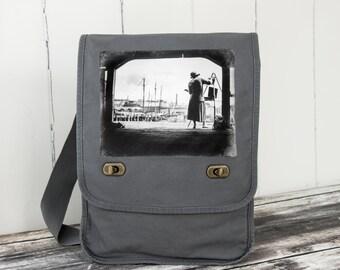 Boston Harbor Artist - Messenger Bag - Field Bag - School Bag - Smoke Gray - Canvas Bag