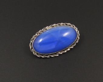 Blue Brooch, Sterling Silver Brooch, Oval Brooch, Faux Star Sapphire Brooch, Blue Glass Pin, Blue Glass Brooch, 1920's Brooch, Oval Pin