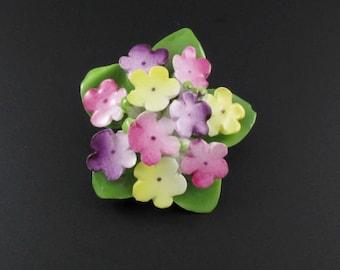 English Porcelain Brooch, Porcelain Flower Brooch, Ceramic Flower Brooch, English Porcelain Jewelry, Staffordshire Brooch