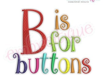 Buttons Monogram Set - Curly Whimsical Font for Machine Embroidery- BX files included- Instant Download Machine embroidery design