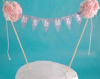 "Cake topper, wedding, Blush, Gray wedding ""Mr & Mrs"" Banner F202 - shabby chic wedding bunting decoration"