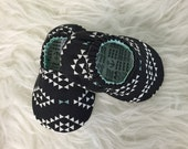 Soft Soled Baby Shoes Black & White Geometric Baby Bootie - Elastic Back - Made to Order