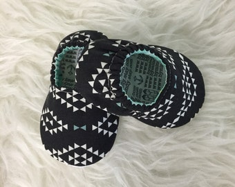 Black & White Geometric Baby Bootie - Elastic Back - Made to Order