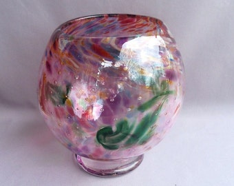 Hand Blown Art Glass  Round Vase