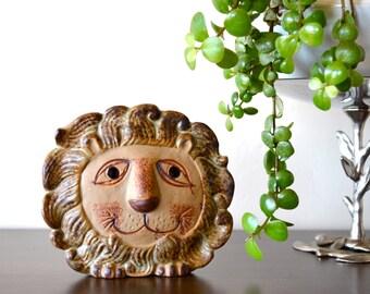Vintage Mid Century Stoneware Pottery Lion Wall Pocket